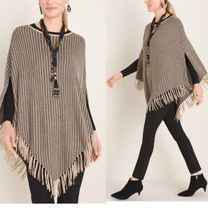 NWT CHICO'S Shine And Fringe-Detail Poncho GOLD